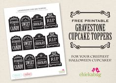 Free printable gravestone cupcake toppers