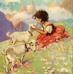 """heidi and her goats"" by jessie willcox smith c.1922"