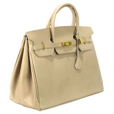 "Color options:  Beige     Color Class: Beige     Style:Satchel/ Top handle     Construction: 100% Genuine Leather     Exterior: Beige leather with natural leather interior     Entry:  Top  entry with turn lock closure     Handles: Two top handles D:5""     Bag dimensions:  W 16""x H13""x D8""     Exterior pockets:  none     One zippered interior pocket and accessory pocket     Bottom feet: yes     No dustbag"