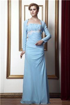 Sleeveless Strapless Natural Sheath/Column Zipper-up Elegant & Luxurious Floor-Length Chiffon Dress
