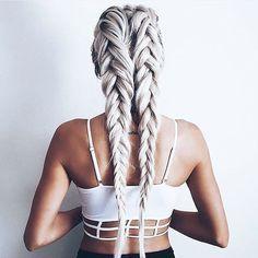 Ash blonde messy fishtail braids