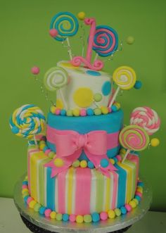 Lollipop 1st Birthday Cake - by buttercream @ CakesDecor.com - cake decorating website