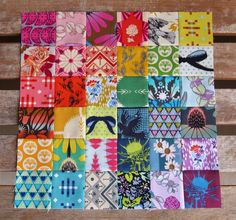 Idea for Hawaiian fabrics? Cut down to smaller size. Summer Tourist Quilt block featuring prints by Anna Maria Horner Cute Quilts, Scrappy Quilts, Mini Quilts, Baby Quilts, Patch Quilt, Quilt Blocks, Crumb Quilt, Postage Stamp Quilt, Summer Quilts