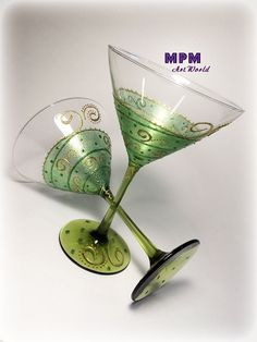 Green Gold Martini Glasses. St. Patrick's Day by MPMArtWorld