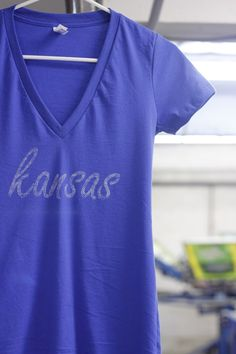 KU Kansas V-neck Tee. You can pick your state and color! Even has a super cute outline on the back! @ washedtee.com