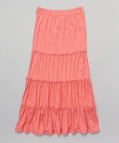 Loving this Pink Tiered Maxi Skirt - Girls on #zulily! #zulilyfinds