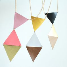 Leather triangles necklace by ulala
