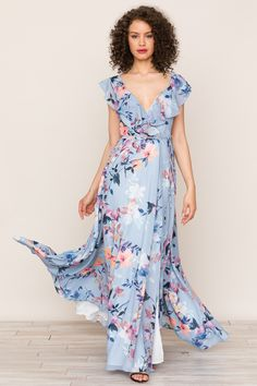1071e0fff6 Yumi Kim Full Bloom Maxi Dress  FloralWrapDress  BlueMaxiDress   WrapMaxiDress Silk Floral Dress