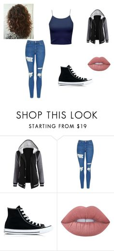 """Casual day"" by jennashu01 ❤ liked on Polyvore featuring Topshop, Converse and Lime Crime"