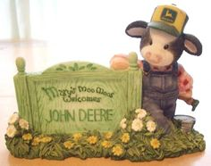 MARY'S MOO MOOS FARMER JOHN DEERE SIGN WELCOME COW/COWS ENESCO FIGURINE 1998 FREE SHIPPING