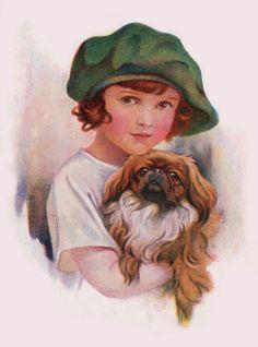 PEKINGESE CHARMING DOG GREETINGS NOTE CARD PEKE IN YOUNG GIRLS ARMS