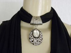 New Women's Pendant Scarf Necklace Jewelry Choker Black Scarf Oval Bling #Diva