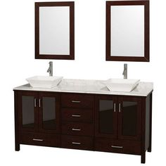 "Wyndham Collection Lucy 72"" Double Bathroom Vanity Set with Mirrors Top Finish: White Carrera Marble, Sink Finish: White Carrera Marble"