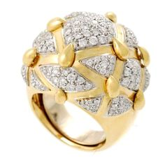 DAVID WEBB Gold  Platinum Diamond Dome Ring | From a unique collection of vintage dome rings at http://www.1stdibs.com/jewelry/rings/dome-rings/