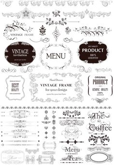 3 sets of vintage frames, decorative borders and dividers with some floral ornaments, swirls and elements for your classic style designs. #vector
