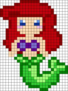 Ariel - maybe Hama beads pattern for Ellie Perler Bead Disney, Perler Bead Art, Perler Beads, Fuse Beads, Cross Stitching, Cross Stitch Embroidery, Cross Stitch Patterns, Pearler Bead Patterns, Perler Patterns