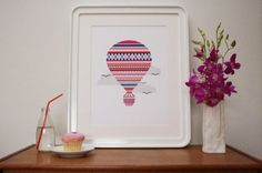 Patterned Hot Air Balloon Print  $30.00   Like!  Paper measures: 304mm x 420mm