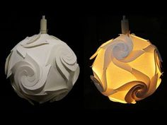 DIY paper lampshade (cyclone)- learn how to make a paper lamp/lantern by template - EzyCraft - YouTube