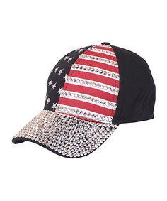 Look at this Urbanista Black Rhinestone American Flag Baseball Cap on #zulily today!