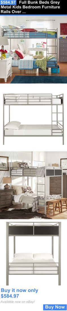 Kids Furniture: Full Bunk Beds Grey Metal Kids Bedroom Furniture Rails Over Ladder Boys Girls BUY IT NOW ONLY: $584.97