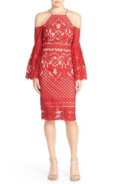 MUST HAVE!  Free shipping and returns on Bardot 'Mila' Cold Shoulder Lace Midi Dress at Nordstrom.com. Dramatically hued in passionate red lace, this showstopping cocktail dress conceals and reveals with a contemporary high neck, open back and flowy bell sleeves with cold-shoulder cutouts.