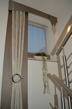 """Very creative window treatment for one of those """"challenging"""" spaces! – Very creative window treatment for one of those """"challenging"""" spaces! Tall Window Treatments, Window Coverings, Bedroom Windows, House Windows, Hanging Curtains, Drapes Curtains, Valances, Drapery, Bedroom Window Dressing"""
