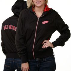 Detroit Red Wings Ladies Black Poly Pique Rhinestone Full Zip Hoodie Jacket
