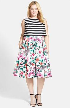Eliza J Mixed Print Bodice Overlay Dress (Plus Size)