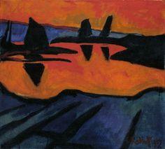 Karl Schmidt-Rottluff (German, 1884-1976), Watt bei Ebbe [Mud flat at low tide], 1912. Oil on canvas, 76 x 84cm.