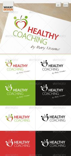 Logo Healthy Coaching  #GraphicRiver         Logo which include 2