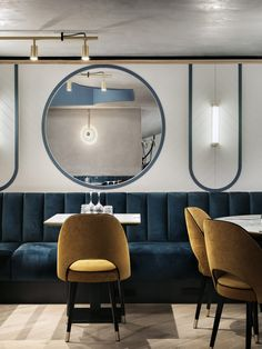 Lighting for Le Felix Faure, Nice - Interior design Maison Balagane x Baldini Architecture. Photo by Studio 614 Architecture Restaurant, Restaurant Interior Design, Commercial Interior Design, Cafe Interior, Commercial Interiors, Restaurant Interiors, Banquet Seating, Booth Seating, Bar Lounge