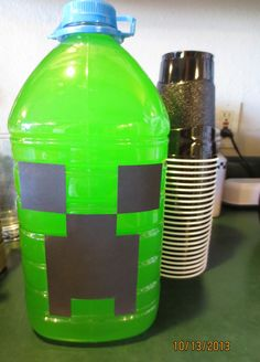 Jug of Creeper Juice: soak juice wrapper off, square punch the eyes and cut mouth from black cardstock, tape on! Super easy!