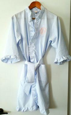 Monogrammed Blue Seersucker Ruffle Robe