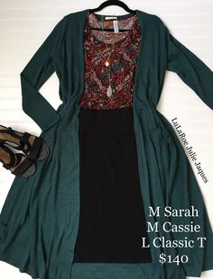 I am in love with this gorgeous Dark Teal LuLaRoe Sarah. Such a perfect touch with this LuLaRoe Classic T and LuLaRoe Cassie.