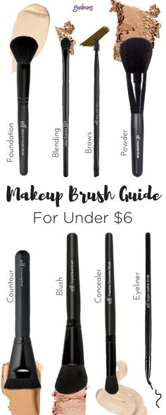 Find the perfect makeup brush for a flawless face. Foundation, Eyeshadow, brows, contour, and more! And for UNDER $6! We love e.l.f makeup brushes!