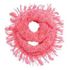 Girls 4-16 Sequin Fringe Knit Infinity Scarf, Med Pink
