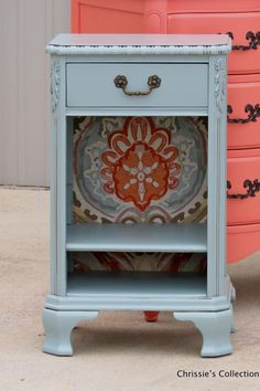 """Table painted in General Finishes Persian Blue. 16.5""""x13"""" and 28""""t $125"""