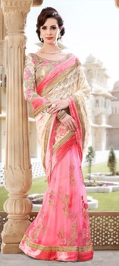 147108, Embroidered Sarees, Party Wear Sarees, Net, Machine Embroidery, Sequence, Resham, Stone, Valvet, Patch, Kasab, Border, Pink and Majenta Color Family