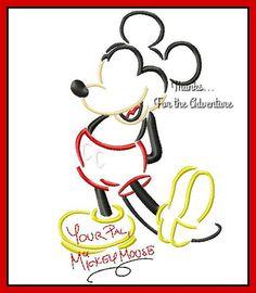 Mickey Mouse Sketch Autograph Combo Digital Embroidery Machine Applique Design File 5x7 6x10