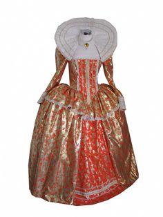Stunning gold and orange Elizabethan gown