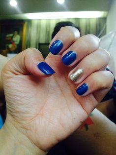 #nailpolish #blue #gold
