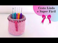 CROCHET BASKET WITH STRING - YouTube Crochet Handles, Crochet Baskets, Youtube, Crochet Diy, Craft, Vase, Mason Jars, Ornaments, Knitting Needles