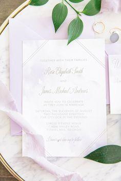 Lavender Watercolor Invitation Beach Wedding Romantic Suite