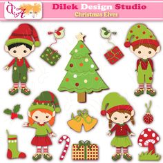 Cute Christmas Elves clipart perfect for your craft project, scrapbooking, invitation, web design, paper product, design card and everything else.