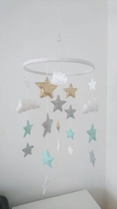 Stars and clouds nursery mobile, baby mobile, gold, grey and mint stars nursery mobile by Magicfeltmobiles on Etsy