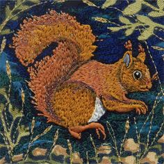 'Red Squirrel' Limited Edition Print - Folksy Scottish Animals, Red Squirrel, Yarn Thread, Original Image, Fresco, Collage, Texture, Embroidery, Collages