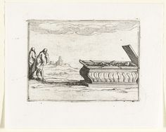 Jacques Callot   Geopend graf, Jacques Callot, 1621 - 1635   Voorstelling van een skelet in een geopende sarcofaag; twee mannen staan ernaast. Dit blad is onderdeel van de embleemserie 'Kloosterleven in emblemen'. De tweede staat van deze serie behelst naast een geïllustreerde titelpagina en 26 emblemen nog een titelpagina en een blad met opdracht, beide in boekdruk zonder afbeelding.