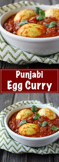 This Punjabi egg curry is so flavorful! And it's so easy to make! The perfect weeknight dish. You just have to have a curry night Veg Recipes, Curry Recipes, Indian Food Recipes, Asian Recipes, Vegetarian Recipes, Chicken Recipes, Cooking Recipes, Healthy Recipes, Cooking Beef