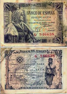 Billete de 1 peseta 1945 Money Notes, Old Money, Money Talks, Old Newspaper, Rare Coins, Vintage Ephemera, Coin Collecting, Postage Stamps, History