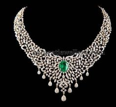 Diamond Necklace Jewellery Designs: Diamond Necklace by Tibarumal Gems - Latest Collection of best Indian Jewellery Designs. Diamond Necklace Set, Diamond Pendant, Diamond Jewelry, Lotus Jewelry, Emerald Diamond, Gold Jewellery, Indian Wedding Jewelry, Indian Jewelry, Bridal Jewelry